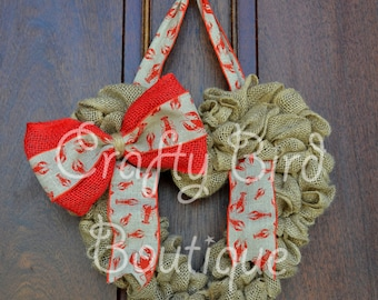 MADE TO ORDER Heart Summer Crawfish Red Burlap Wreath
