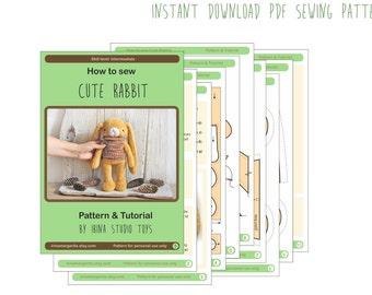 PATTERN Download - PDF tutorial - PDF Pattern - Rabbit Sewing - Stuffed Bunny Sewing - Bunny Pattern - Rabbit Sewing Pattern & Tutorial
