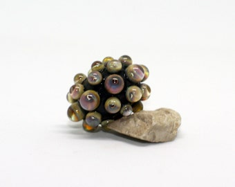 Focal Bead - Black Raku Multi Colour - Round Donut Beads - Handmade Lampwork Glass Bead - Raised Dots
