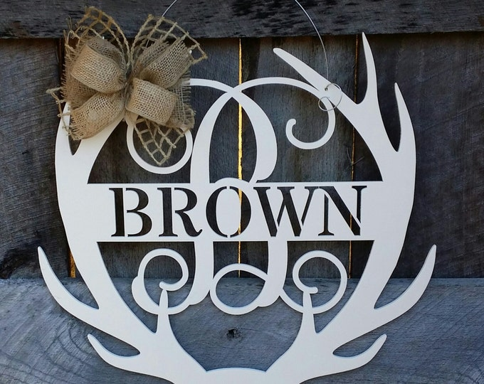Monogram Antler Door Hanger - Painted Family Monogram - Wedding Gift - Housewarming Gift - Personalized Gift - Personalized Door Hanger