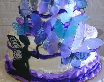 15 Edible Butterflies Purple Teal with or with out Fairy Cake/Cupcake topper