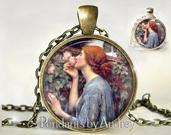 Art Pendant, Soul of the Rose Necklace,Pendant,Jewelry, Art,Gift for Artist, JW Waterhouse, Print, Gift,Classic