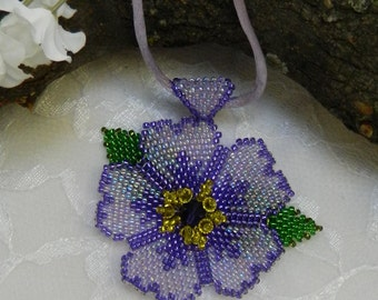 SALE! Swarovski Beaded Flower Necklace,Seed Bead flower,Purple Flower,Swarovski flower - Seed Bead Flower Necklace