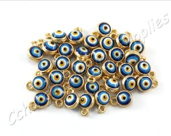 5 pcs Gold Evil Eye Charms, (9mm x 6mm) Gold Evil Eye Charms, 24k Matte Gold Plated Evil Eye Charms, Tiny Evil Eye Charms