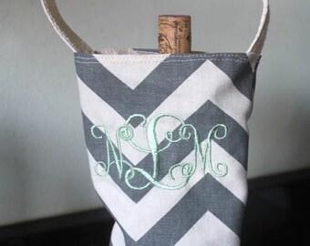 Monogram wine tote, monogram wine carrier, chevron wine carrier, chevron wine tote, personalized wine tote, personalized wine carrier