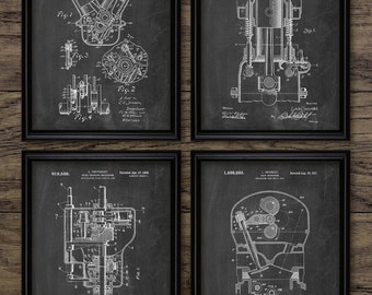 Car Engine Parts Patent Print Set Of 4 - American Car Engine Design - Garage Mechanic Gift - Set Of Four Prints #2238 - INSTANT DOWNLOAD