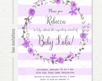 purple baby shower invitation purple violet stripes floral wreath silver glitter baby girl shower