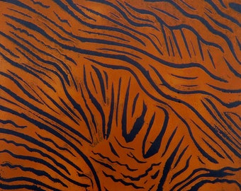 Linocut, printmaking, original, orange on black