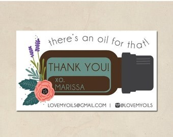 printable mommy calling cards - hand illustrated essential oils design1 - personalized thank you - essential oil cards - DIY - customized