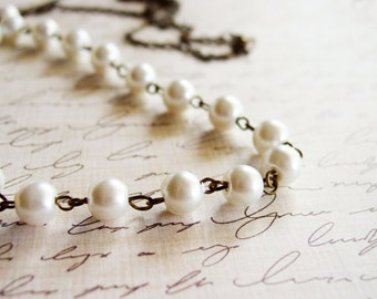 Long Pearl Strand Necklace with Antique Bronze Chain