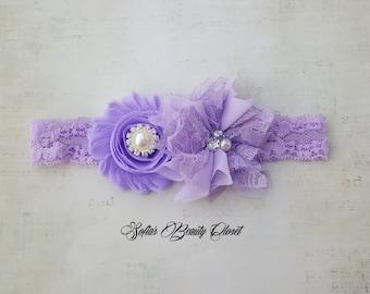 Lavender headband. Easter headband. Easter baby. Purple headband. Newborn headband. Infant headbands. Baby girl headband. Kids headbands