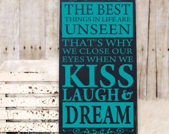 """The Best Things in Life are Unseen Wooden Vinyl Subway Art Sign 12"""" x 24"""".  Wood sign, family room sign, inspirational sign, subway art sign"""