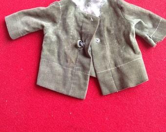 Vintage green velvet doll jacket with fur collar