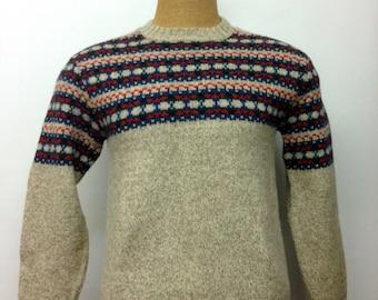 Vintage Men's WOOL FAIRISLE SWEATER Size Medium // Camridge Dry Goods Company // British Ragg Wool, Made in the U.S.A. // Knit pullover