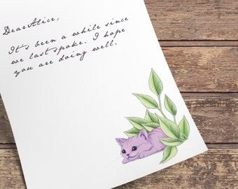 Alice in Wonderland Cheshire kitten | Stationery Letter Writing Paper - Instant Digital Download PDF JPEG
