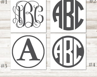 Charcoal Gray Monogram Decal – Gray Vinyl Decal – Dark Gray Vinyl Monogram – Gray Monogram Yeti Decal – Gray Personalized Decal D221