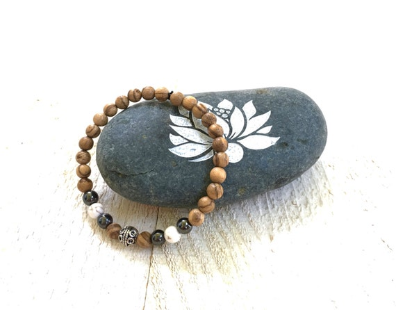 Agarwood Yoga Bracelet, Bohemian Style Jewelry, Mala Bead Accessory, Natural Healing Jewelry, Mala Inspired Jewelry, Casual Stretch Bracelet