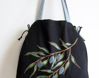 Olive branch hand painted bag, Black bag, finest damask and cotton bag, unique tote bag, olive hand painted bag