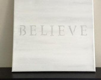 Believe Canvas Christmas Decor