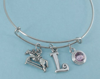 Personal horse jumping  bangle bracelet in stainless steel personalized with your choice of initial.    Horse jewelry.
