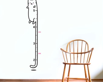 Growth Chart decal (inches): Long Cat / Sticker Height Chart Wall decal / 5 feet Ruler Decal Nursery decor / Kids room decor / Cat decal