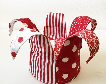 Ready to Ship: Jester or Clown Hat in Red and White