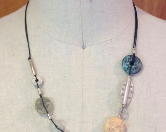 Necklace, adjustable, Thai silver, carved Chinese, bone, glass