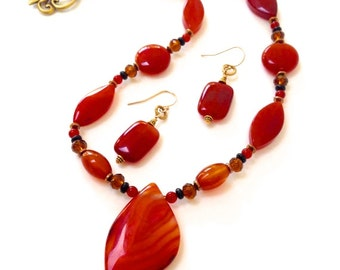 Red Agate Pendant Necklace & Earrings, Semi Precious Stones Beaded Statement Jewelry Set, Women's Colorful Handmade Jewelry, Gift Under 50