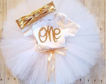 Babies First Birthday Tutu outfit/Smashcake tutu set/Baby girl outfit/White and Gold/Gold Headband/Babies One Birthday