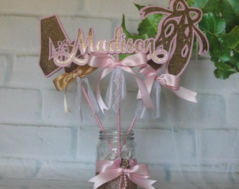 Ballerina centerpiece, Ballerina party decoration, Personalized ballerina, Gold & pink party, Ballerina sticks.JAR NO INCLUDED