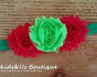 Red & Green Headband-Christmas Headband- Newborn Headband-Holiday Headband