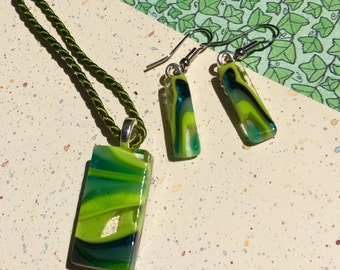 Fused Glass Jewelry in Greens