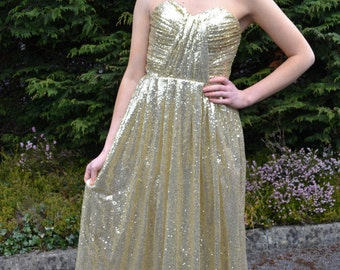 Custom made strapless sequin 'Cadence' gown with sweetheart sculpted neckline for alternative bridal gown or wedding party dress