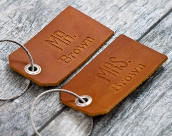 Mr. and Mrs. Personalized Custom Leather Luggage Tags Set of 2