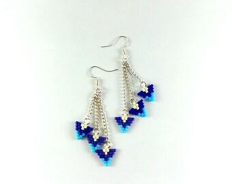 Navy blue earrings Chain earrings Womens gift For wife Dangling earrings Girlfriend gift For her Long earings For her Gift jewelry