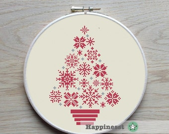 cross stitch christmas tree snowflakes, modern cross stitch, PDF, ** instant download**