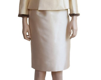 Vintage Suits, Bigio Silk Wool Mink Fur Trim Suit, Suits, Women's Suits, Silk Suits, Wool Suits, Women's Fashion, Wool Silk Suits,  Weddings