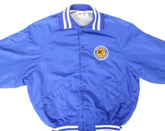 Vintage Mens Sport Coat / 1980s Men's Large Jacket / Blue Nylon Coat / Blue Athletic Jacket / Mens Nylon NC Hybrids Agricultural Products