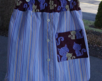 Upcycled Kitty Cat Skirt, Girls size 7 / 8 / 9