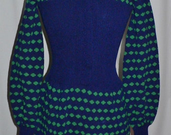Vintage 1960s- 1970's Adolfo at Saks Fifth Ave. Knit Dress with Bishop Sleeves, Navy and Green Sweater Dress Saks Fifth Ave.