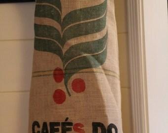upcycled burlap coffee sack apron with cotton fabric bird lining