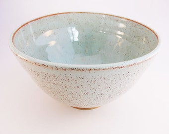 Stoneware Hand-thrown Big Soup Bowl. Mint Green Bowl. In stock.