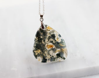 Unique Stone Pendant/ Moss Agate Pendant/ Irregular Stone Pendant/ Stone Agate Pendant/ Moss Agate Jewelry