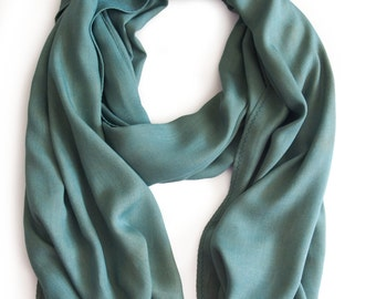 Sage Rayon Scarf - Rayon Scarf, Naturally Dyed Scarf, Fustic Wood, Natural Indigo, Hand-Dyed Scarf, Handmade Scarf, Natural Dye, Solid Scarf