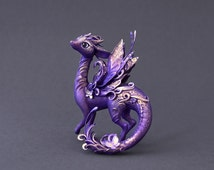 Dragon sculpture dragon figurine  fantasy creature OOAK  fairy dragon purple dragon with butterflies fantasy sculpture