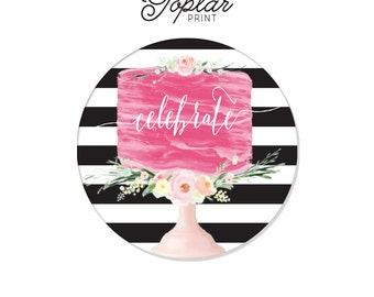 Cake Celebrate Birthday Labels Stickers 2 circle black white stripes coordinating Invitation