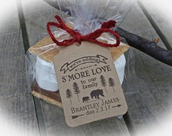 Lumberjack Baby Shower S'More Love Favor Kits-3 TAG COLORS choices w/Bags/Ribbon or twine | Bear Baby Shower Favor |  Kits ONLY