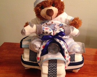 Baby Boy Teddy Bear Tricycle Diaper Cake