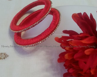 Red Handcrafted Silk Thread Work - Clear Rhinestone Studded Bangles - Size 2.4-Bangle Bracelet