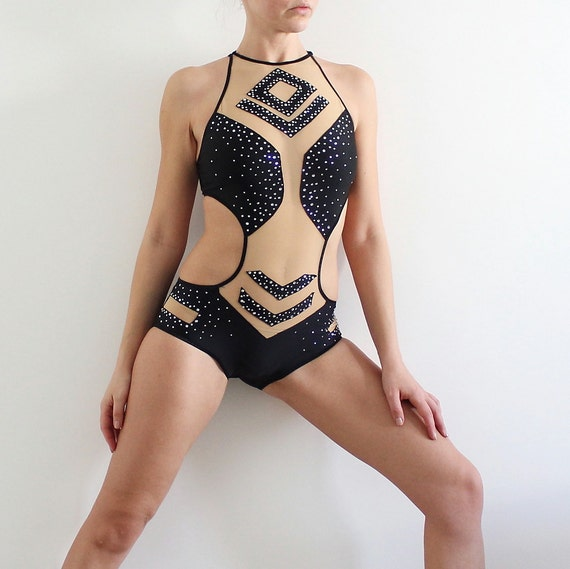 Competition Performance Pole dance costume with rhinestones